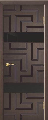 """Дверь Лабиринт 2 с фрезеровкой купить в Санкт-Петербурге по низкой цене (цвет: венге натуральный) от производителя межкомнатных дверей """"Геона"""