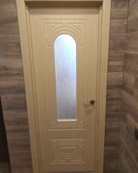 Дверь Аврора ДО. Сатинат светлый с гравировкой. Цвет беленый дуб.