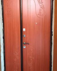 Дверь входная металлическая двустворчатая Премиум. Цвет антик медь. Накладки Флоренция, цвет вишня