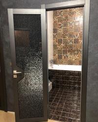 Дверь Модус триплекс с тканью темный в цвете Реалвуд стил с фурнитурой Palladium
