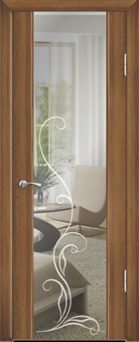 """Дверь Люкс 1 с зеркалом купить в Санкт-Петербурге по низкой цене (цвет: орех седой светлый) от производителя межкомнатных дверей """"Геона"""