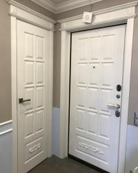 Дверь и накладка  Мерано 4 цвет синхропоры айс патина