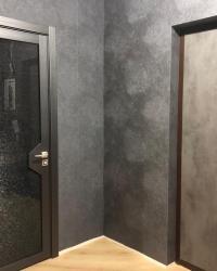 Дверь Модус триплекс с тканью темный в цвете Реалвуд стил и Накладка на входную дверь Гладь в цвете Бетон темный