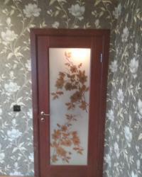 Дверь Орхидея ДО сатинат с фотопечатью. Цвет Махагон
